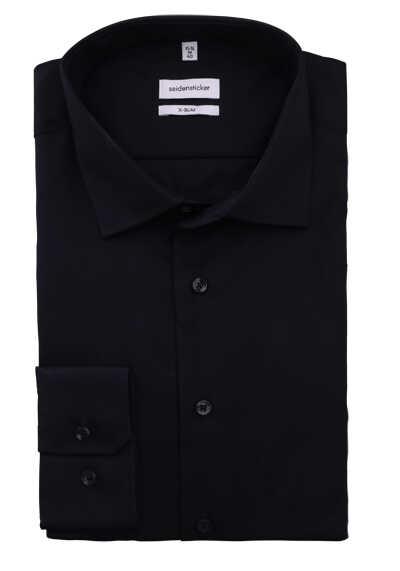 SEIDENSTICKER X-Slim Hemd Langarm New Kent Kragen Popeline schwarz - Hemden Meister