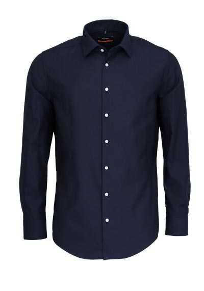 SEIDENSTICKER Slim Hemd extra langer Arm Struktur nachtblau - Hemden Meister