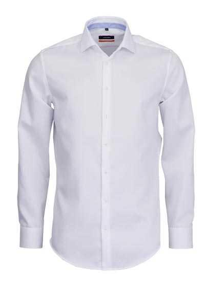 SEIDENSTICKER Slim Hemd extra langer Arm Haifischkragen Struktur weiß - Hemden Meister
