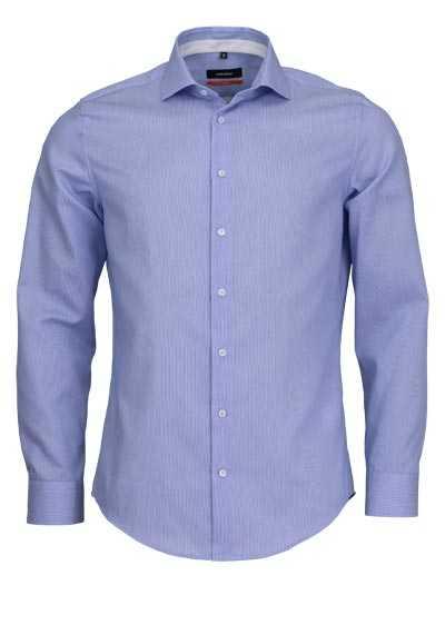 SEIDENSTICKER Slim Hemd extra langer Arm Haifischkragen Struktur hellblau - Hemden Meister