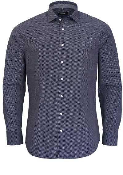 SEIDENSTICKER Tailored Hemd extra langer Arm Muster dunkelblau - Hemden Meister