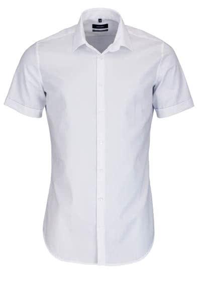 SEIDENSTICKER X-Slim Hemd Halbarm New Kent Kragen Fil a Fil weiß - Hemden Meister