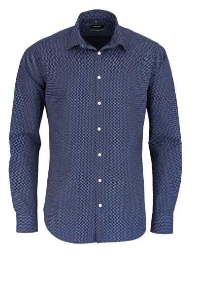 SEIDENSTICKER X-Slim Hemd extra langer Arm Muster nachtblau - Hemden Meister