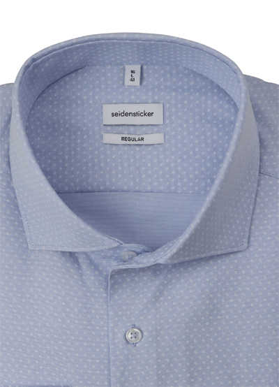 SEIDENSTICKER Regular Fit Hemd Langarm New Kent Kragen Oxford Muster hellblau