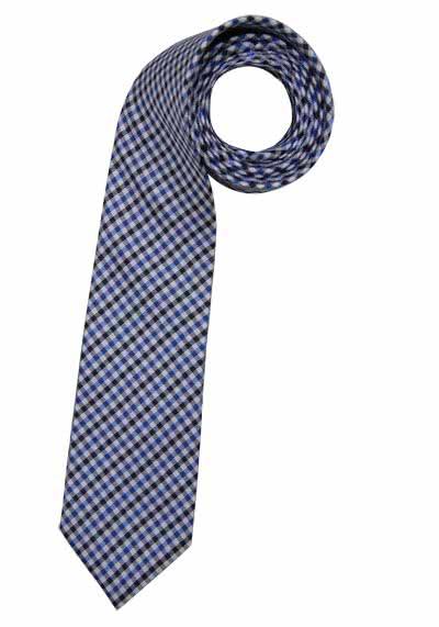 SEIDENSTICKER Krawatte aus reiner Seide 7 cm breit Karo mittelblau - Hemden Meister