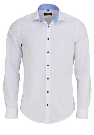 SEIDENSTICKER Slim Hemd Langarm Haifischkragen weiß - Hemden Meister