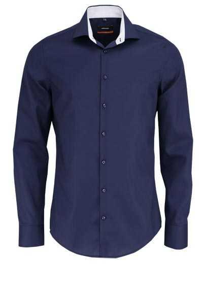 SEIDENSTICKER Slim Hemd extra langer Arm Haifischkragen nachtblau - Hemden Meister