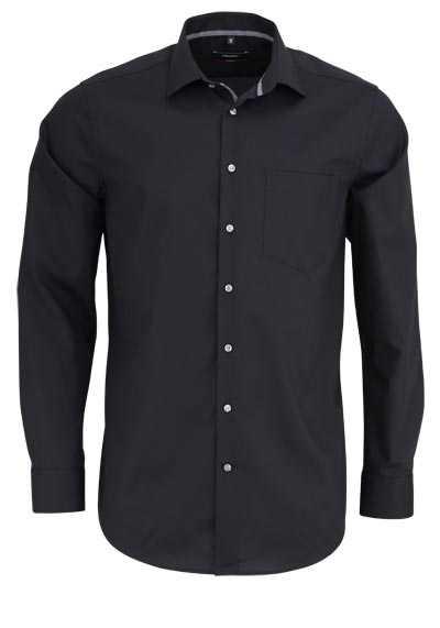 SEIDENSTICKER Modern Hemd Langarm New Kent Kragen schwarz - Hemden Meister