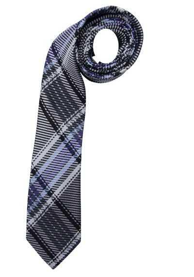 SEIDENSTICKER Krawatte aus reiner Seide 7 cm breit Karo blau - Hemden Meister