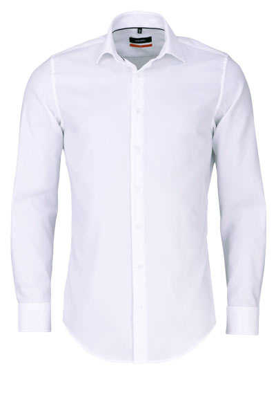 SEIDENSTICKER Slim Hemd extra langer Arm Struktur weiß - Hemden Meister