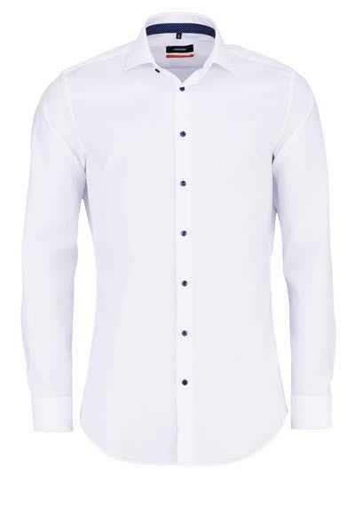 SEIDENSTICKER Slim Hemd extra langer Arm Haifischkragen weiß - Hemden Meister