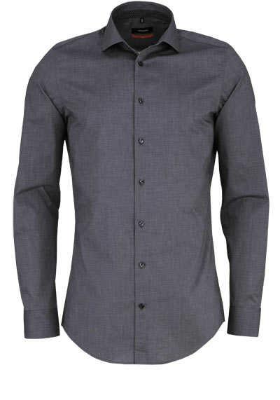 SEIDENSTICKER Slim Hemd extra langer Arm Haifischkragen dunkelgrau - Hemden Meister