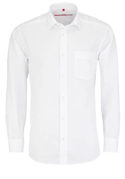 SIGNUM Classic Fit Hemd Langarm New Kent Kragen Jacquard weiß - Hemden Meister