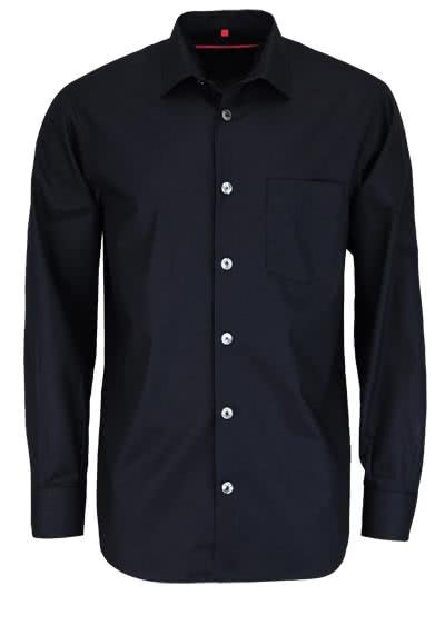 SIGNUM Classic Fit Hemd Langarm New Kent Kragen Jacquard schwarz - Hemden Meister