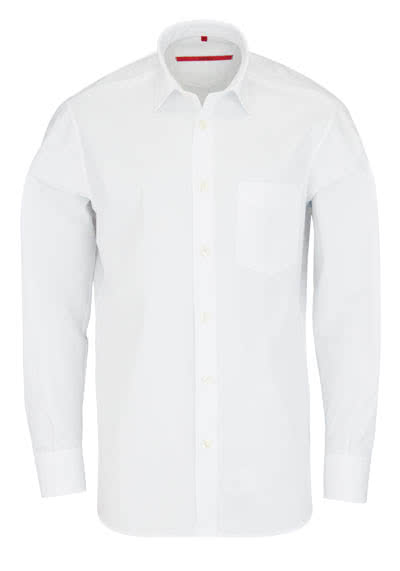 SIGNUM Classic Fit Hemd Langarm New Kent Kragen Popeline weiß - Hemden Meister