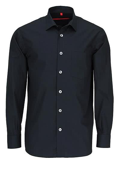 SIGNUM Classic Fit Hemd Langarm New Kent Kragen Popeline schwarz - Hemden Meister