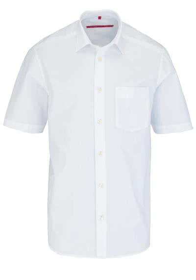 SIGNUM Classic Fit Hemd Halbarm New Kent Kragen Popeline weiß - Hemden Meister