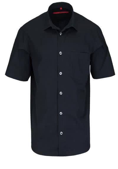 SIGNUM Classic Fit Hemd Halbarm New Kent Kragen Popeline schwarz - Hemden Meister