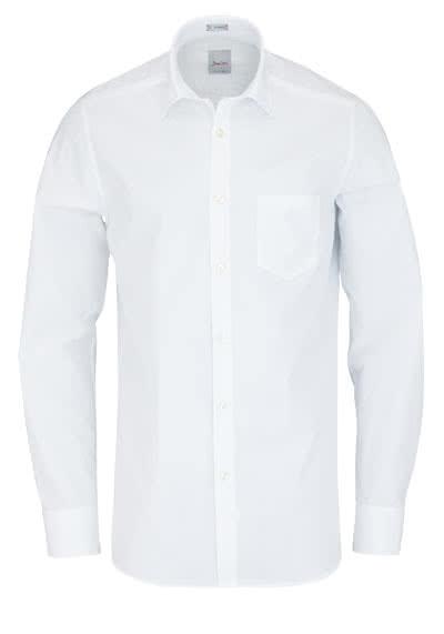 SIGNUM Modern Fit Hemd Langarm New Kent Kragen Popeline weiß - Hemden Meister