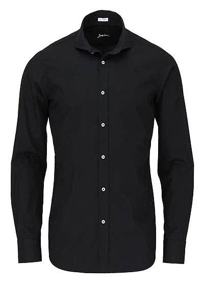 SIGNUM Slim Fit Hemd Langarm Haifschkragen Popeline schwarz - Hemden Meister