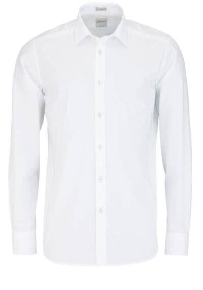 SIGNUM Modern Fit Hemd Langarm Basic Kent Kragen weiß - Hemden Meister