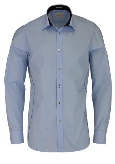 SIGNUM Modern Fit Hemd Langarm Basic Kent Kragen hellblau - Hemden Meister