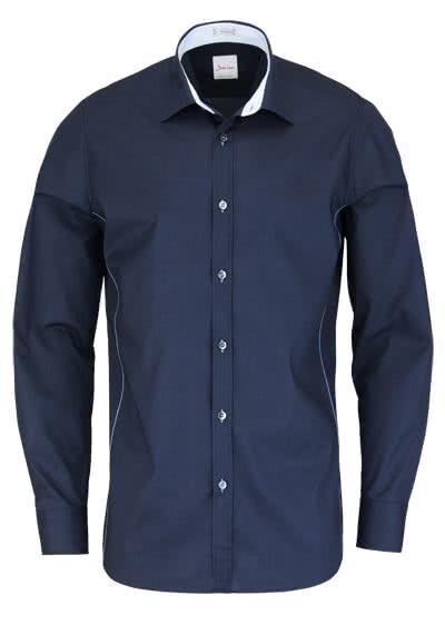 SIGNUM Modern Fit Hemd Langarm Basic Kent Kragen dunkelblau - Hemden Meister