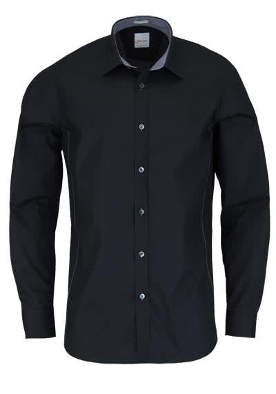 SIGNUM Modern Fit Hemd Langarm Basic Kent Kragen schwarz - Hemden Meister