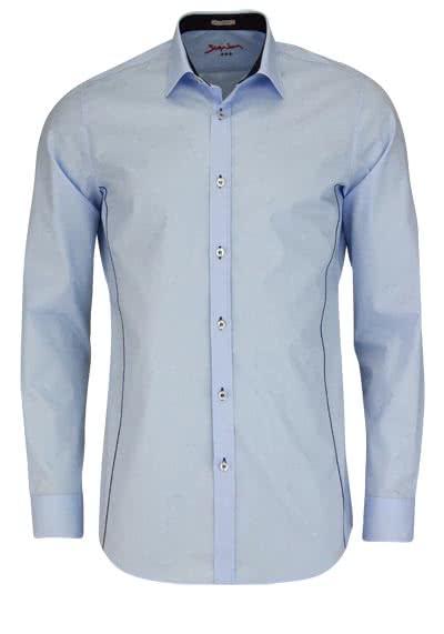 SIGNUM Slim Fit Hemd Langarm New Kent Kragen Stretch hellblau - Hemden Meister