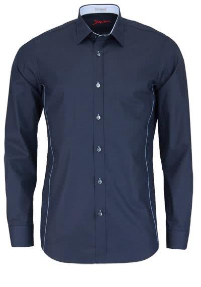 SIGNUM Slim Fit Hemd Langarm New Kent Kragen Stretch dunkelblau - Hemden Meister