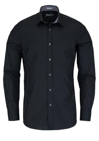 SIGNUM Slim Fit Hemd Langarm New Kent Kragen Stretch schwarz - Hemden Meister