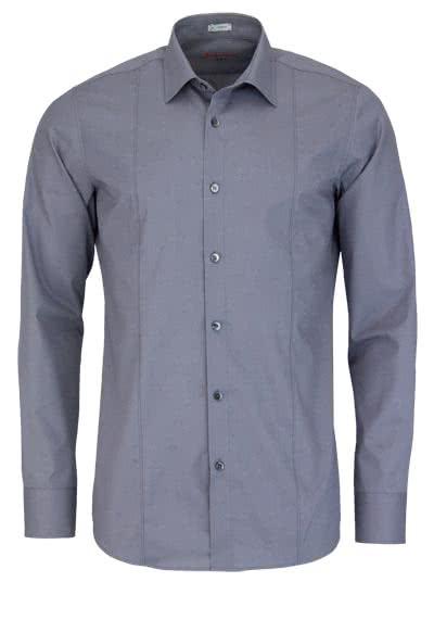 SIGNUM Slim Fit Hemd Langarm New Kent Kragen Stretch grau - Hemden Meister