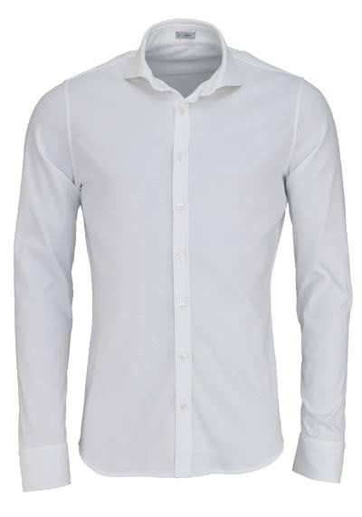 SIGNUM Super Slim Hemd Langarm Haifschkragen Jersey weiß - Hemden Meister