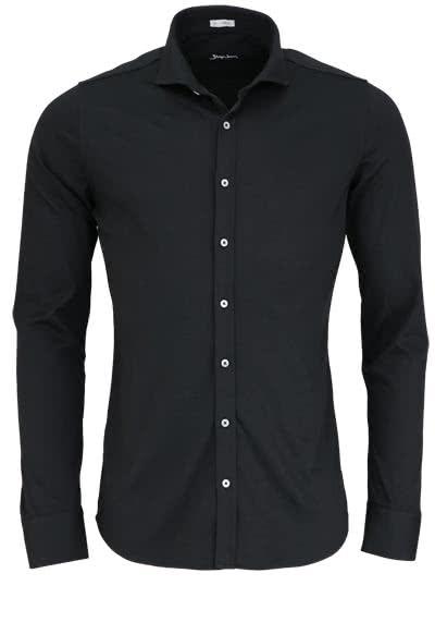 SIGNUM Super Slim Hemd Langarm Haifschkragen Jersey schwarz - Hemden Meister