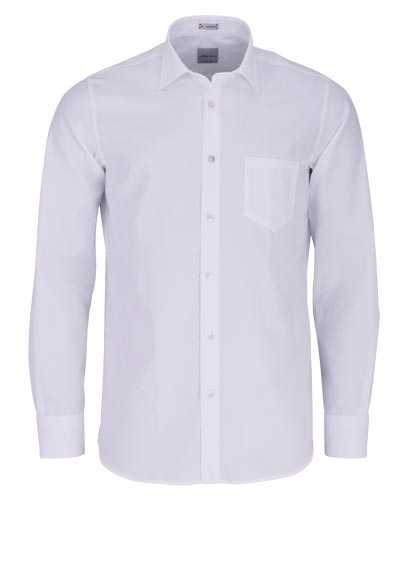 SIGNUM Classic Fit Hemd Langarm New Kent Kragen Muster weiß