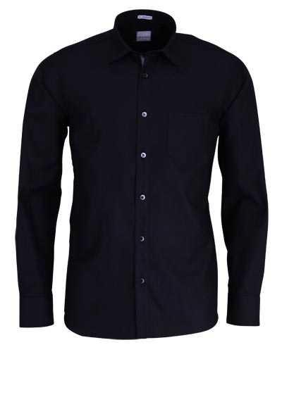 SIGNUM Classic Fit Hemd Langarm New Kent Kragen Muster schwarz - Hemden Meister