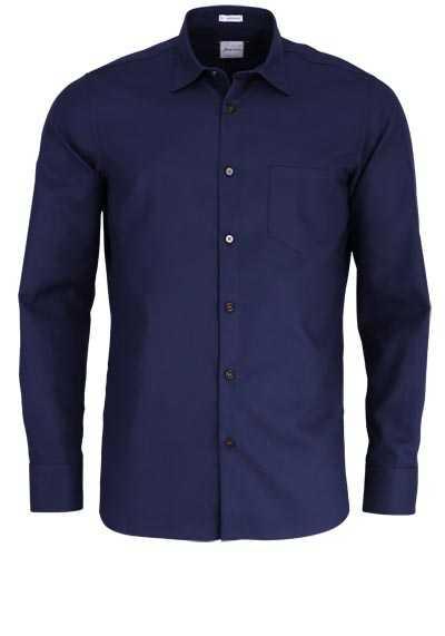 SIGNUM Modern Fit Hemd Langarm New Kent Kragen Muster blau - Hemden Meister
