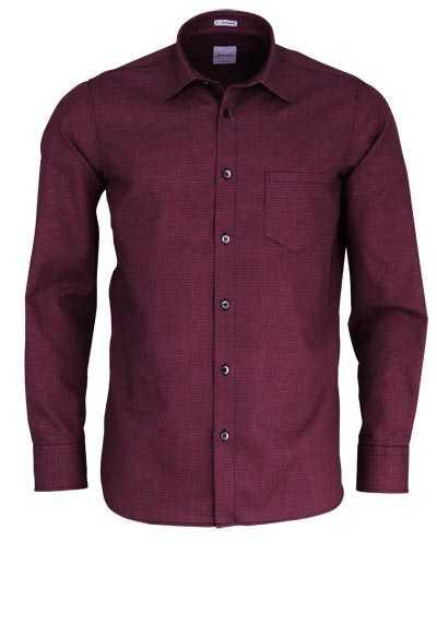 SIGNUM Modern Fit Hemd Langarm Brusttasche Muster rot - Hemden Meister