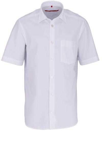 SIGNUM Classic Fit Hemd Halbarm New Kent Kragen Struktur weiß - Hemden Meister
