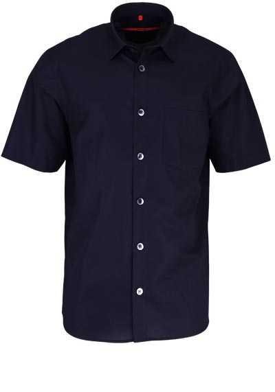 SIGNUM Classic Fit Hemd Halbarm New Kent Kragen Struktur schwarz - Hemden Meister
