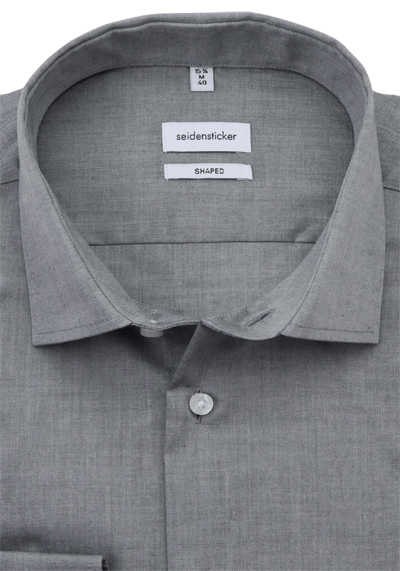 SEIDENSTICKER Shaped Hemd Langarm Basic Kent Kragen Chambray grau