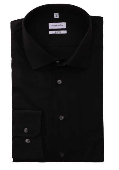 SEIDENSTICKER Tailored Hemd Langarm Basic Kent Kragen Popeline schwarz - Hemden Meister