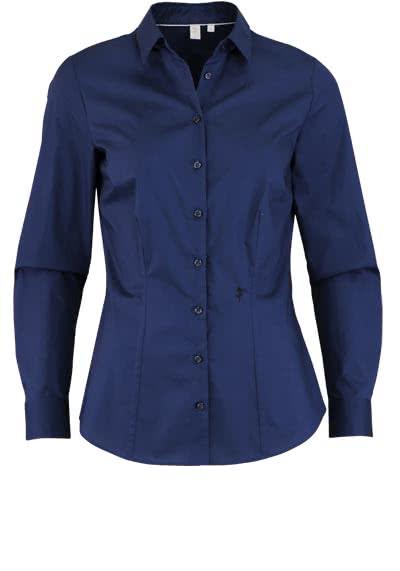 SEIDENSTICKER Slim Bluse Langarm Hemdkragen Popeline Stretch nachtblau - Hemden Meister