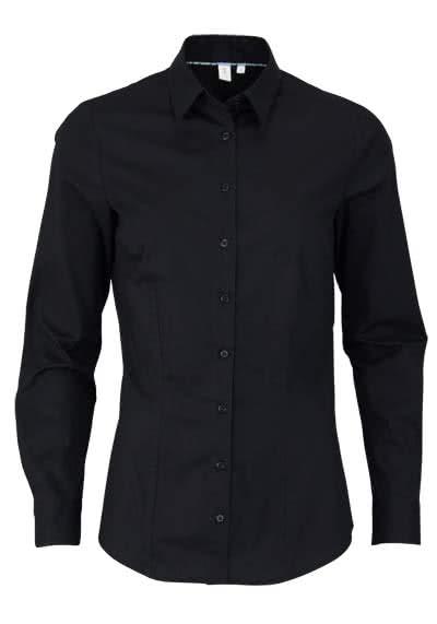 SEIDENSTICKER Slim Bluse Langarm Hemdkragen Popeline Stretch schwarz - Hemden Meister