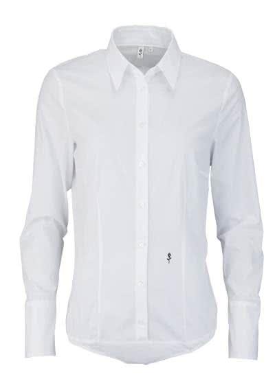 SEIDENSTICKER Slim Bodybluse Langarm Hemdkragen Popeline Stretch weiß - Hemden Meister