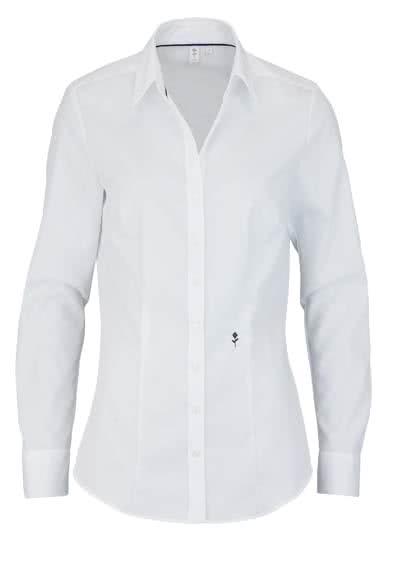 SEIDENSTICKER Slim Bluse Langarm Offener Kragen Popeline weiß - Hemden Meister