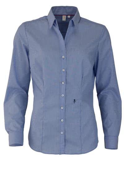 SEIDENSTICKER Slim Bluse Langarm mit Kragenband Streifen mittelblau - Hemden Meister