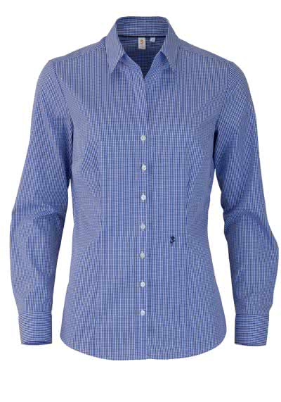 SEIDENSTICKER Slim Bluse Langarm Offener Kragen Karo dunkelblau - Hemden Meister