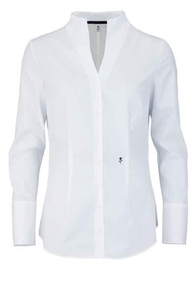 SEIDENSTICKER Slim Bluse Langarm mit Kelchkragen Popeline weiß - Hemden Meister