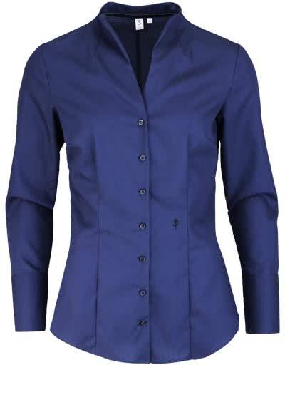 SEIDENSTICKER Slim Bluse Langarm mit Kelchkragen Popeline nachtblau - Hemden Meister